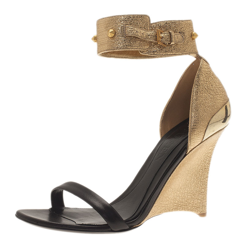 e8521c279452 Buy Alexander McQueen Two Tone Leather Studded Ankle Strap Wedges ...