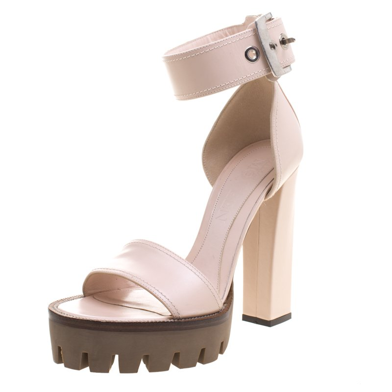 124d3d733a ... Alexander McQueen Blush Pink Leather Ankle Strap Platform Sandals Size  39. nextprev. prevnext