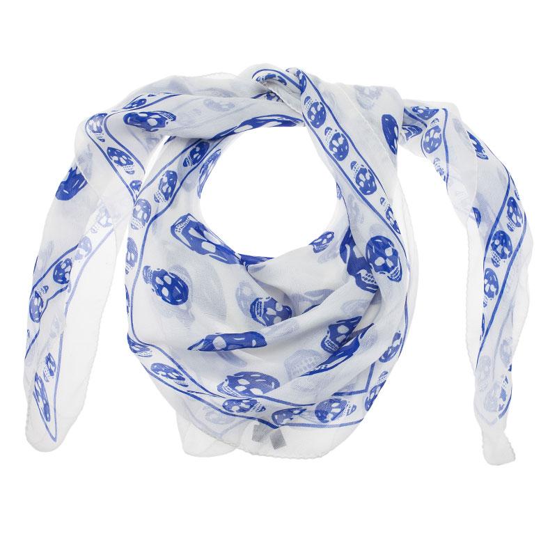 Buy Alexander Mcqueen White And Blue Skull Silk Chiffon Scarf 40189