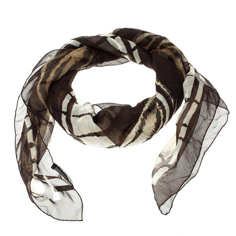 ac956e6b6ee346 Buy Alexander McQueen Brown Animal Print Silk Chiffon Square Scarf ...