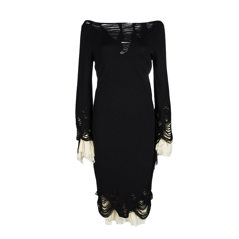 Alexander McQueen Black Wool Plisse Underlay Distressed Dress L