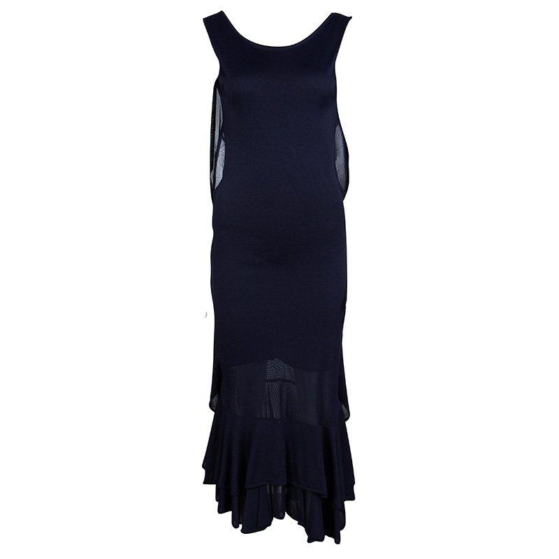 Alexander McQueen Navy Blue Knit Draped Back Ruffle Bottom Dress S