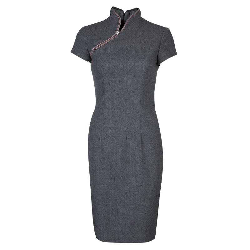 Alexander Mcqueen Grey Wool Zip Detail Cheongsam Dress S