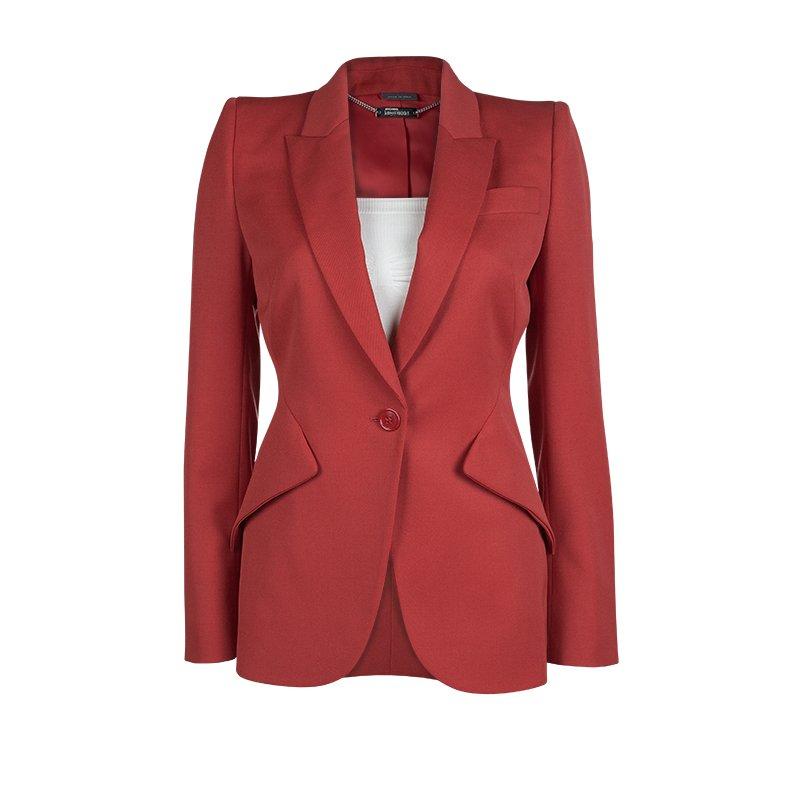 Alexander McQueen Red Notched Collar Tailored Wool Blazer S