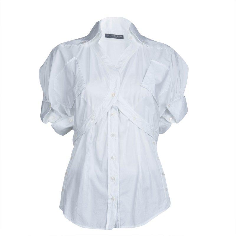Alexander Mcqueen White Short Sleeve Cotton Shirt S