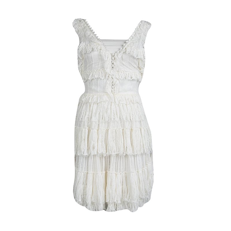 b1be9786e33 ... Alexander McQueen Cream Knit Ruffle Detail Tiered Sleeveless Dress XXS.  nextprev. prevnext