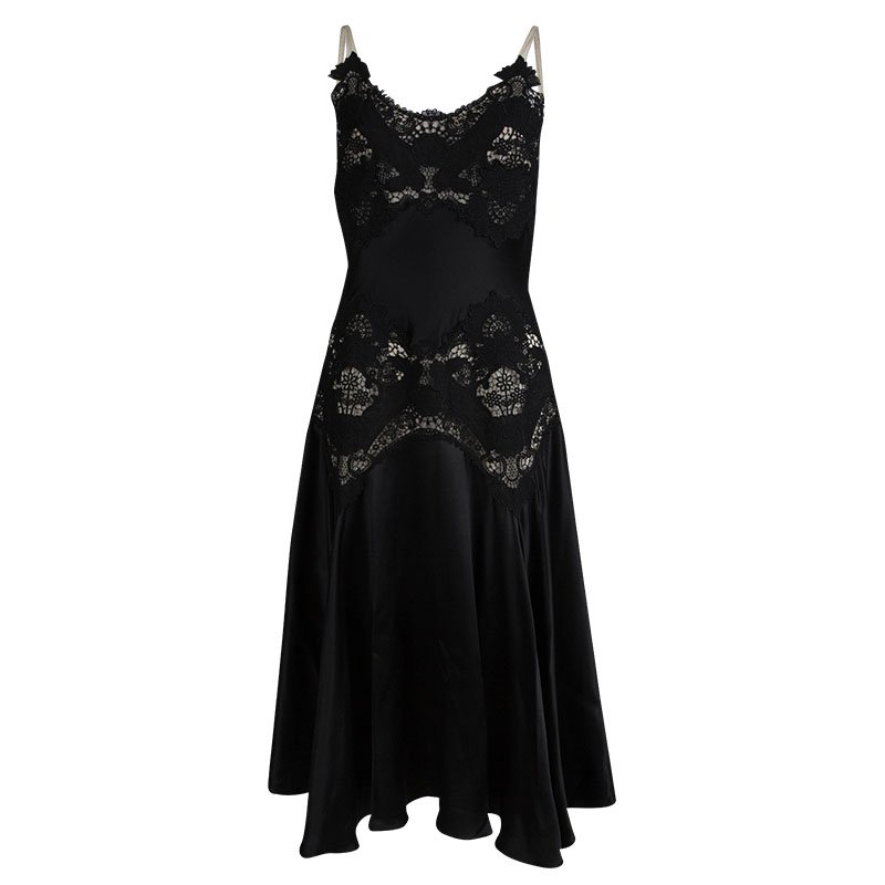 Alexander McQueen Black Silk Lace Detail Dress M