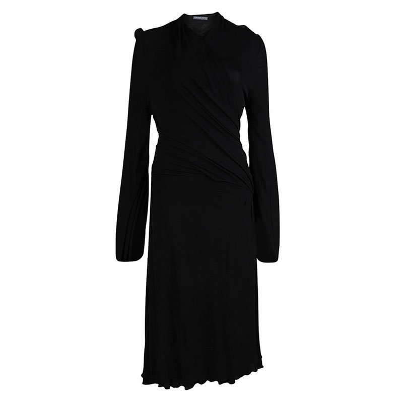 Alexander McQueen Black Faux Wrap Dress M