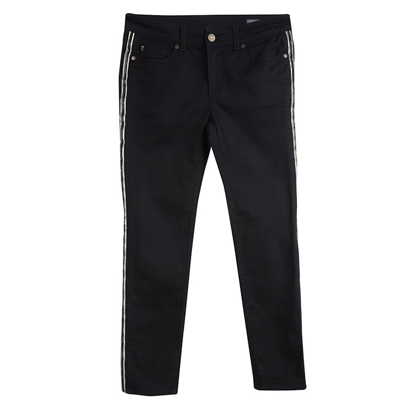 Alexander McQueen Black Denim Zip Trim Detail Skinny Jeans S