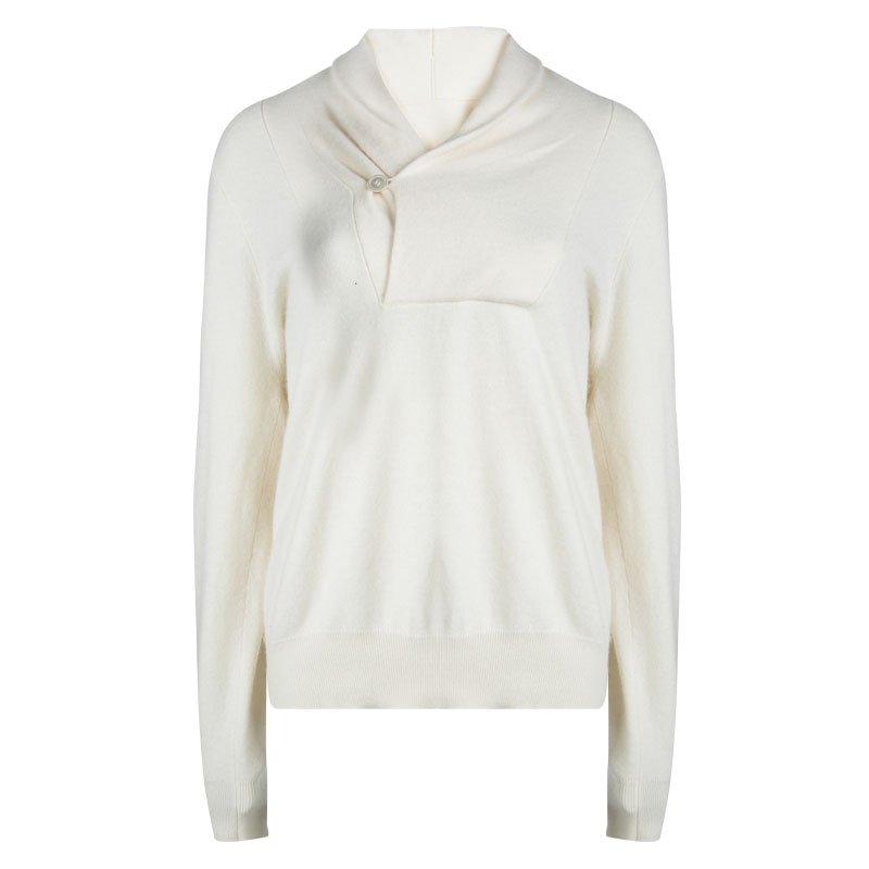 Alexander McQueen Cream Shawl Collar Cashmere Sweater XL