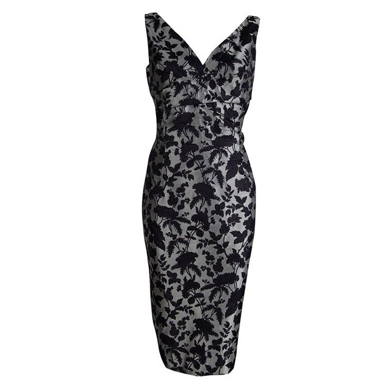 Alexander McQueen Grey Brocade Floral Dress L