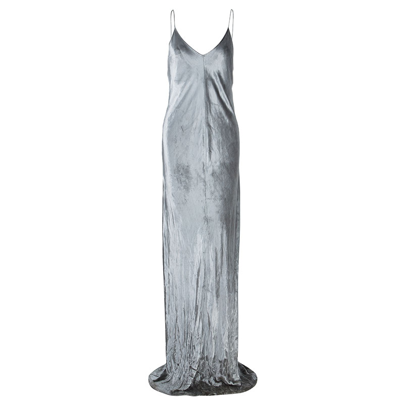 83f168731925 Buy T By Alexander Wang Panne Velvet Silver Camisole Maxi Dress M ...
