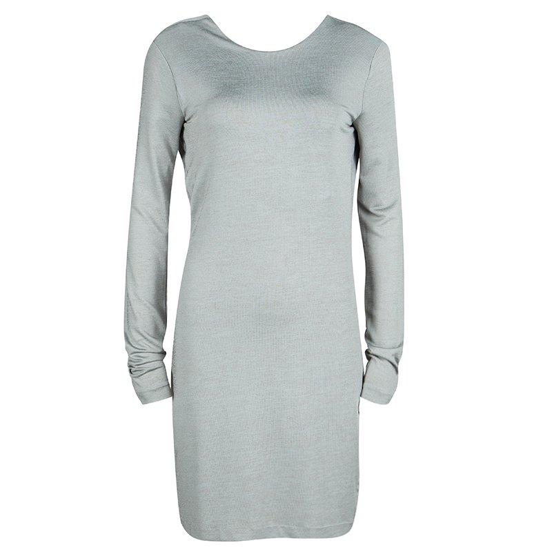 a68b42563 T By Alexander Wang Grey Knit Scoop Back Detail Long Sleeve Dress M
