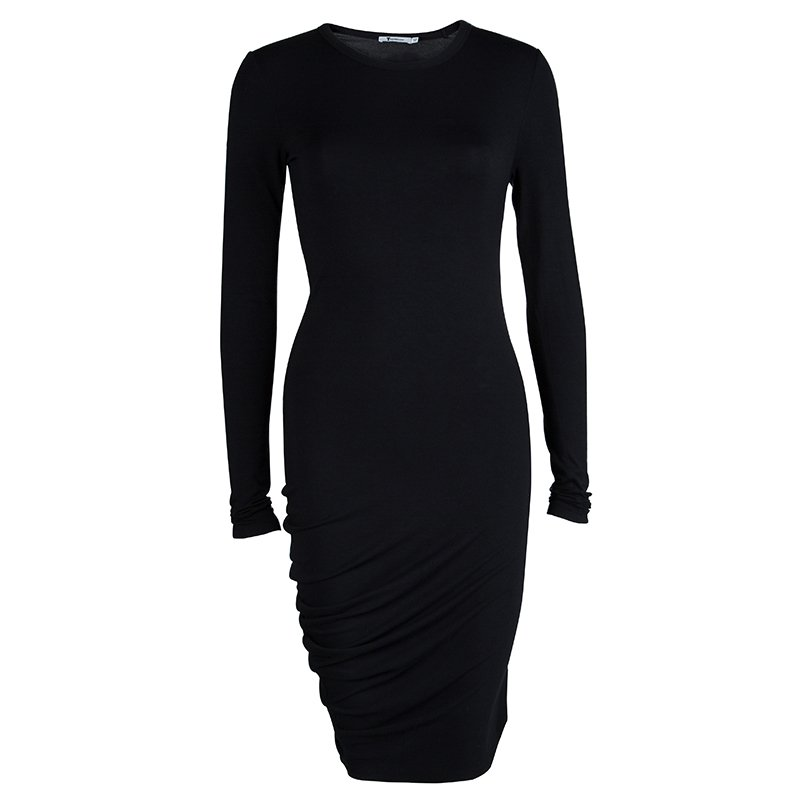 499c87fe0 T Alexander Wang Black Knit Long Sleeve Asymmetric Dress S