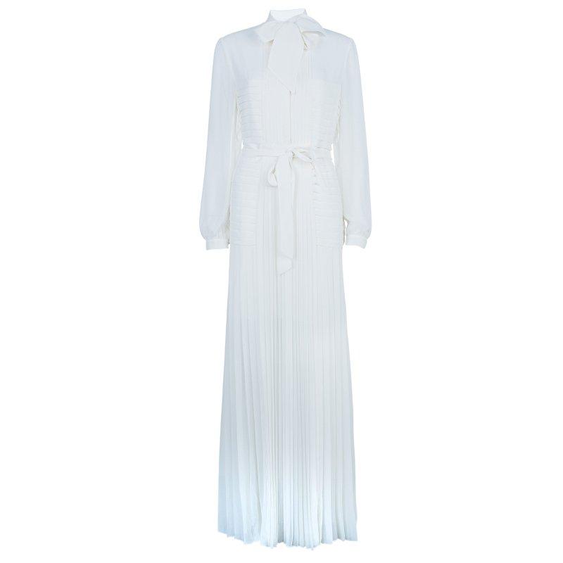 فستان آليس باي تيمبيرلي بطيات ورد طويل أبيض M