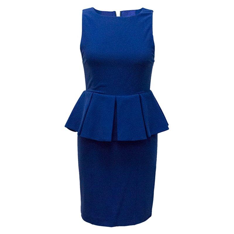 فستان آليس + أوليفيا أزرق كوبالت بلا أكمام ببيبليوم S