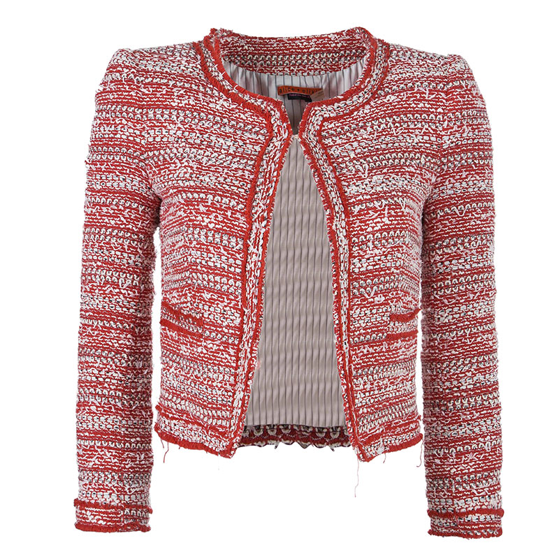 Alice + Olivia Red White Tweed Blazer XS
