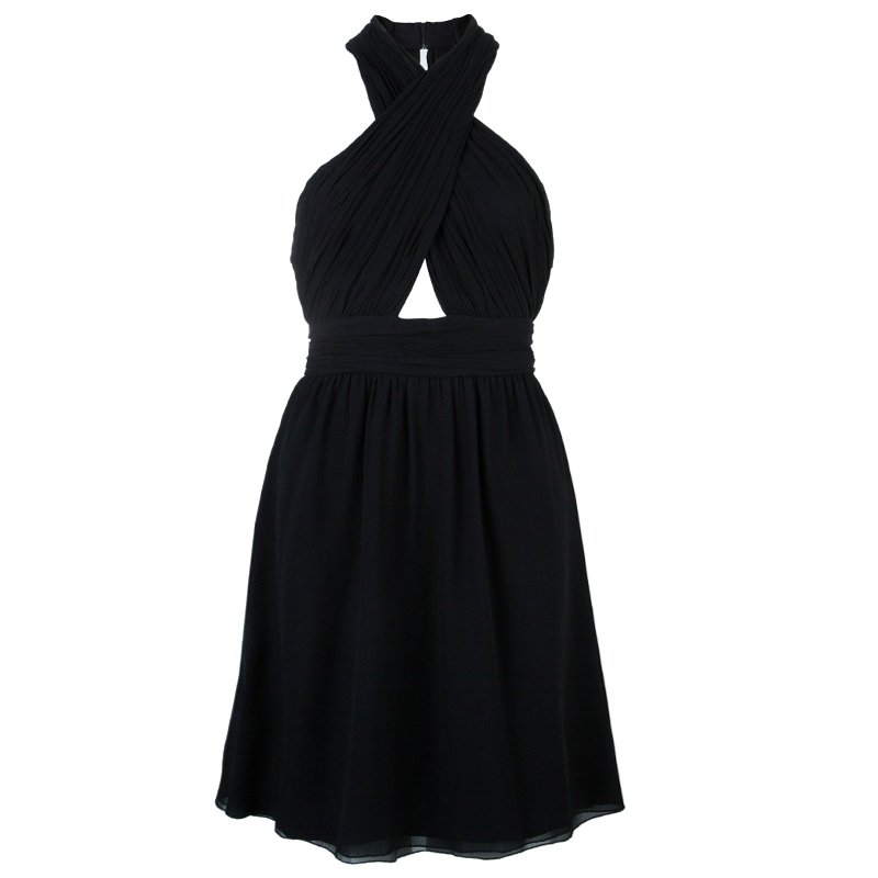 Alice + Olivia Martine Black Halter Neck Pleated Dress M