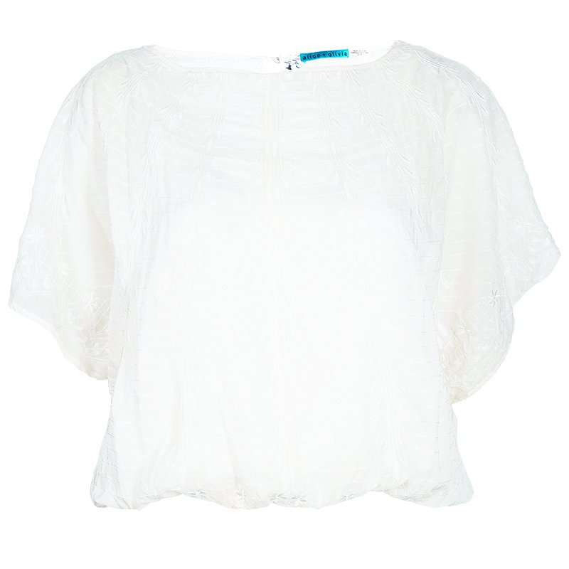 Alice + Olivia Jenna White Embroidered Top XS