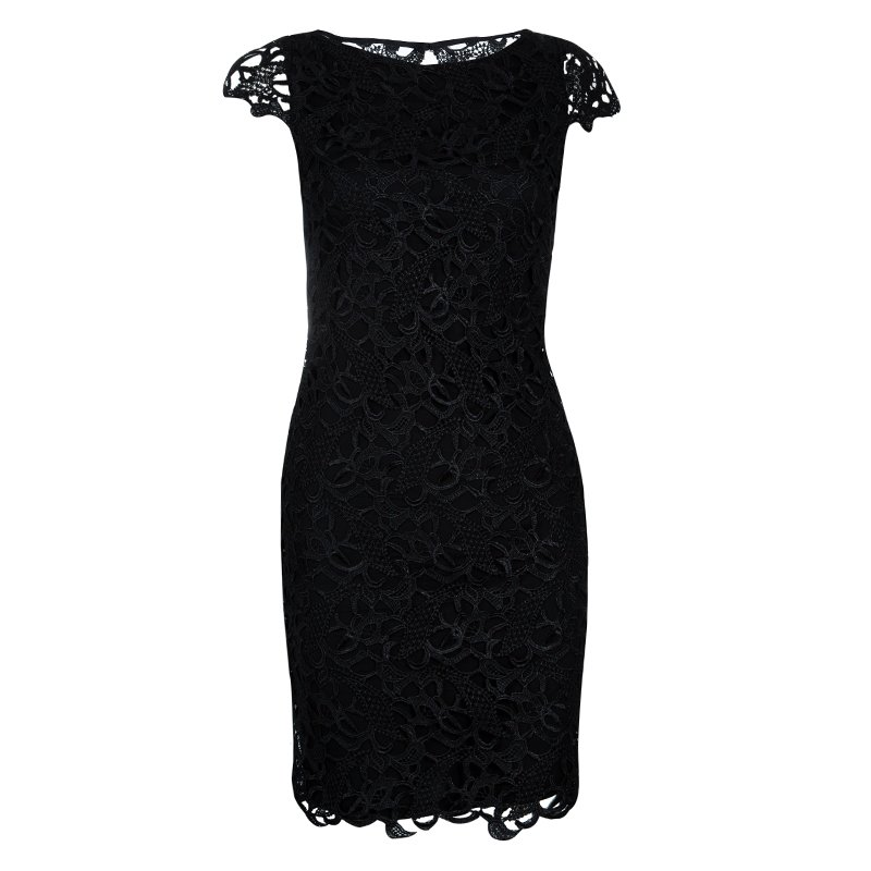 Alice + Olivia Clover Black Lace Cap Sleeve Dress XS