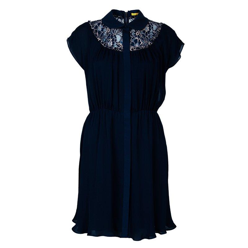 Alice + Olivia Emma Navy Blue Silk Lace Dress M