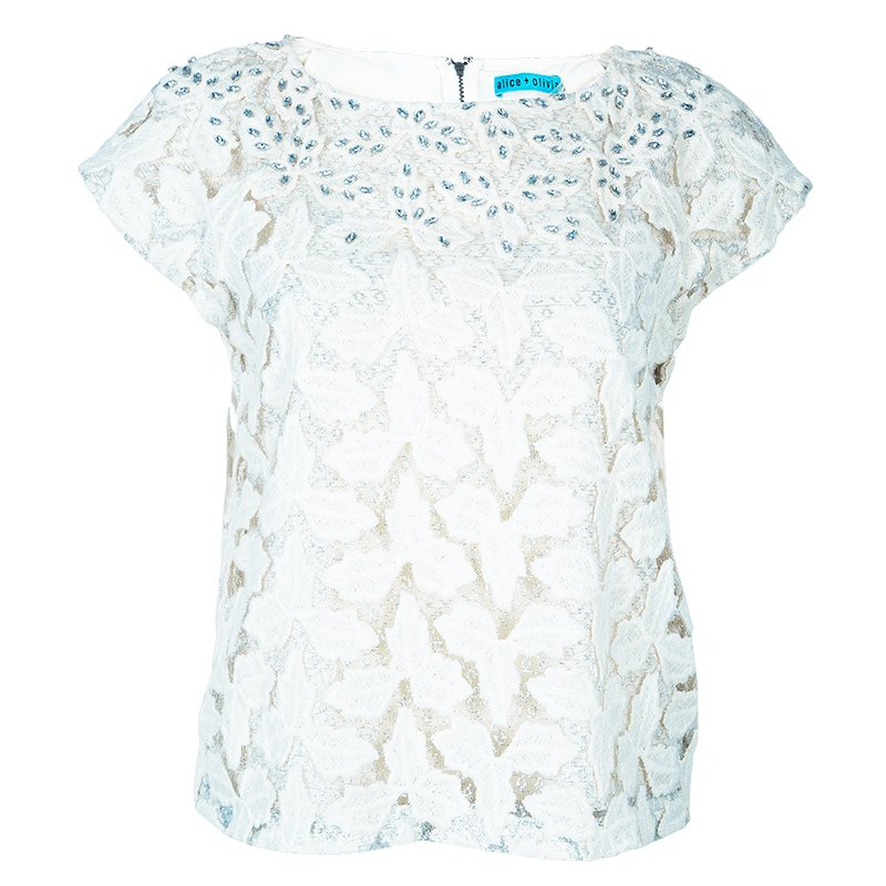 Alice + Olivia Hilary Cream Embroidered Top S