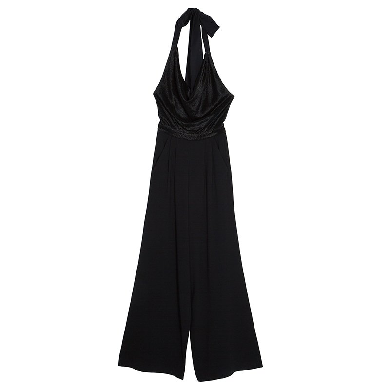 Alice + Olivia Black Draped Front Halter Jumpsuit XS