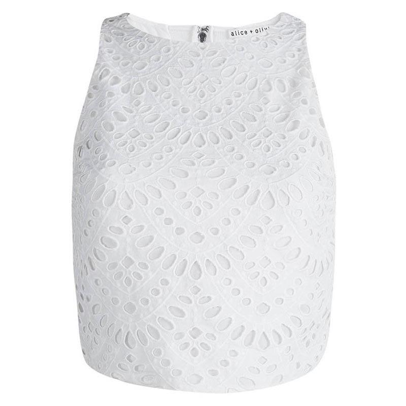 ce9fcaffef8cc Buy Alice + Olivia White Eyelet Lace Sleeveless Cropped Top S 83397 ...