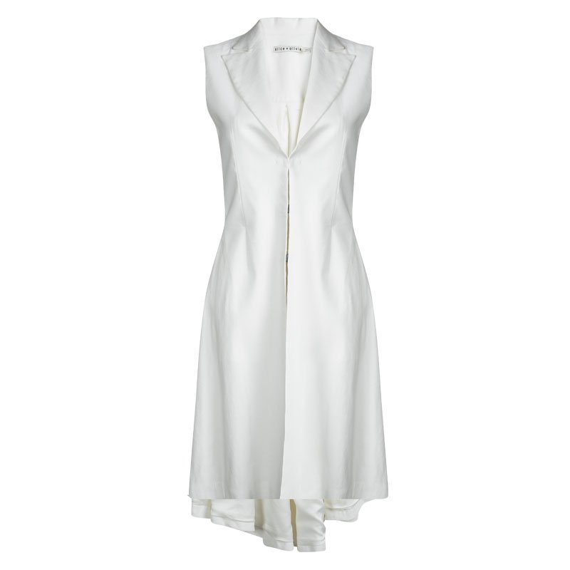فستان معطف آليس + أوليفيا أبيض بلا أكمام غير متساوي S