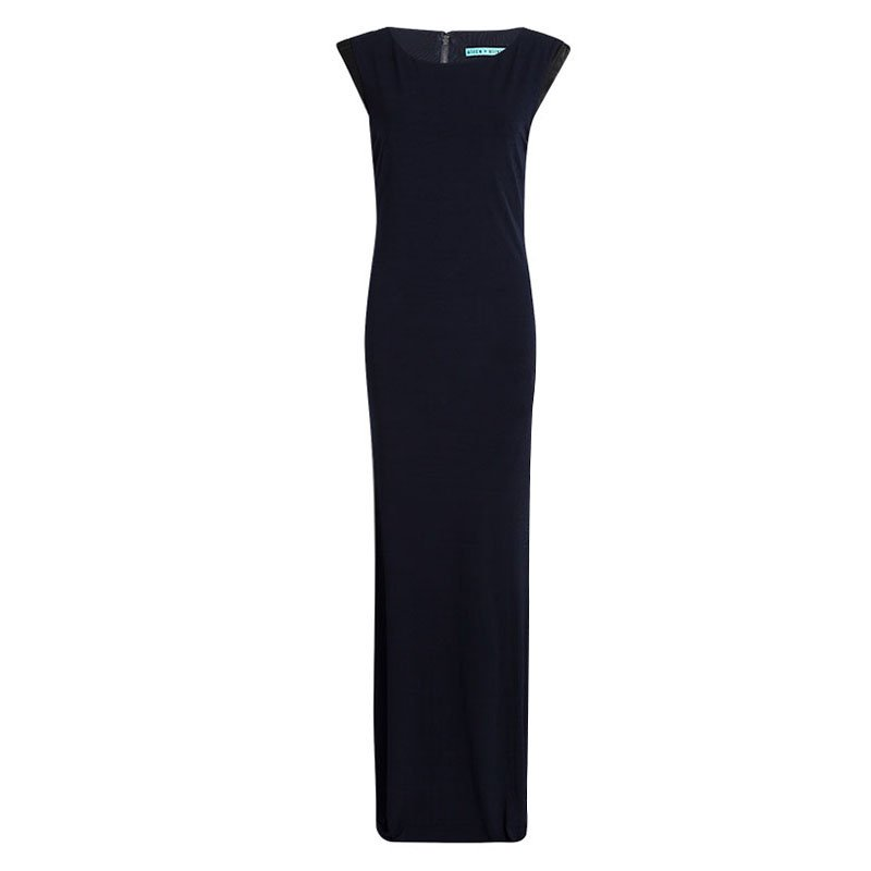 e73e784660d Buy Alice + Olivia Navy Blue Knit Leather Trim Sleeveless Maxi Dress ...