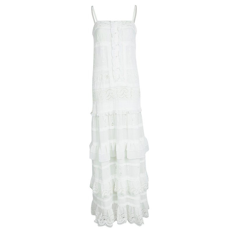 Alice By Temperley Off White Eyelet Embroidered Paneled Sleeveless Maxi Dress M