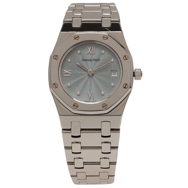 Audemars Piguet Blue Stainless Steel Royal Oak Women's Wristwatch 25MM