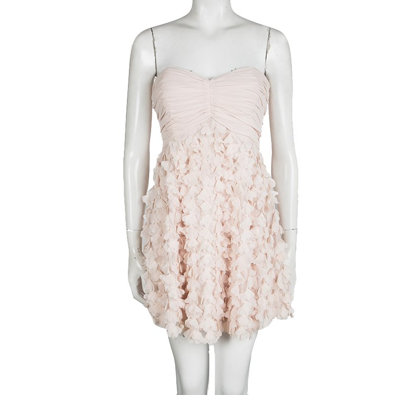Badgley Mischka Blush Pink Chiffon Petal Applique Strapless Cocktail Dress M