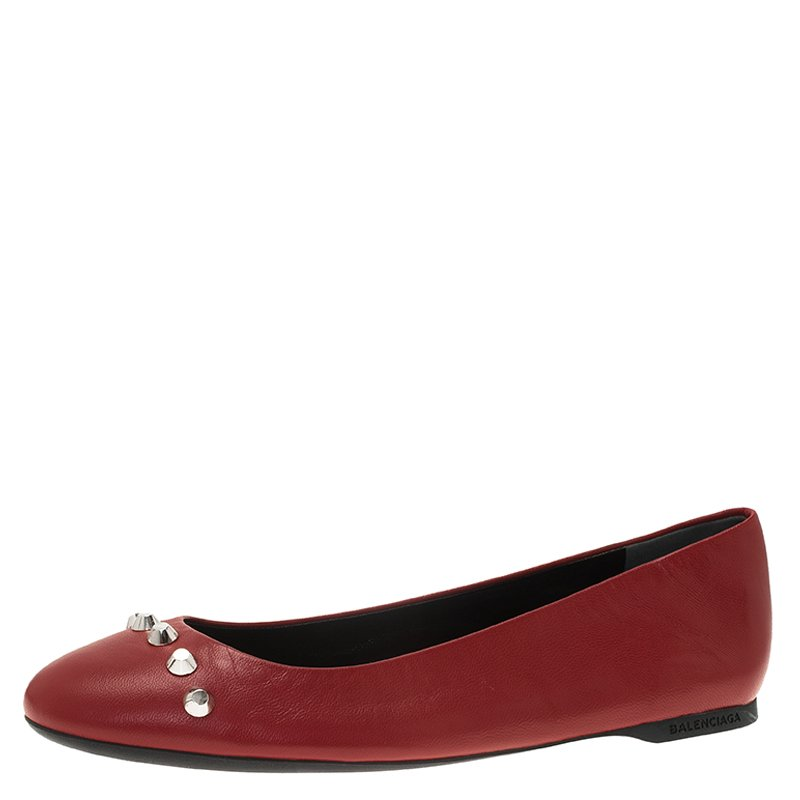cc6cbc87 Balenciaga Red Studded Leather Ballet Flats Size 36
