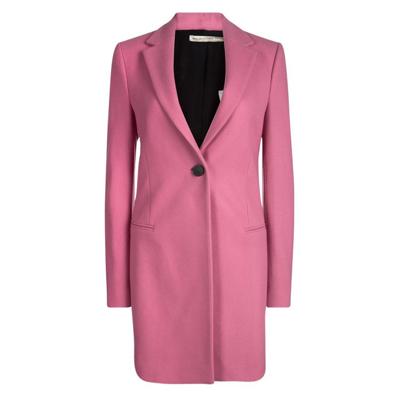 638b4fb02f17 Buy Balenciaga Pink Wool Classic Long Coat M 93205 at best price