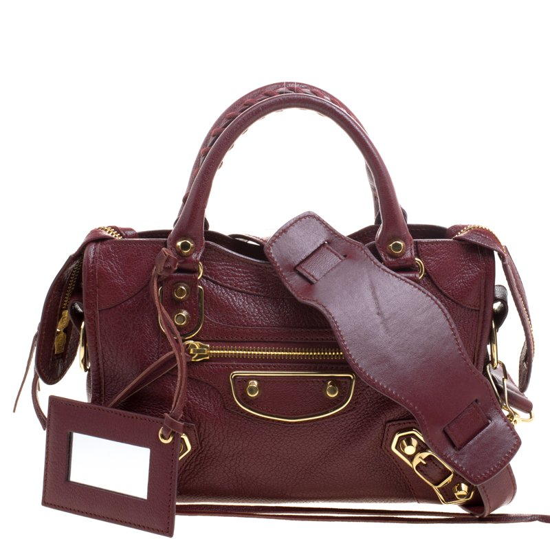 085df2571f950 Buy Balenciaga Burgundy Leather Mini RGH City Tote 101508 at best ...