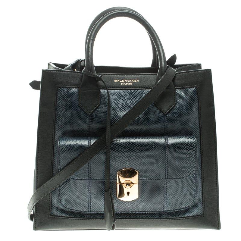 c2483e442642 Buy Balenciaga Blue Black Python and Leather Padlock All Afternoon ...