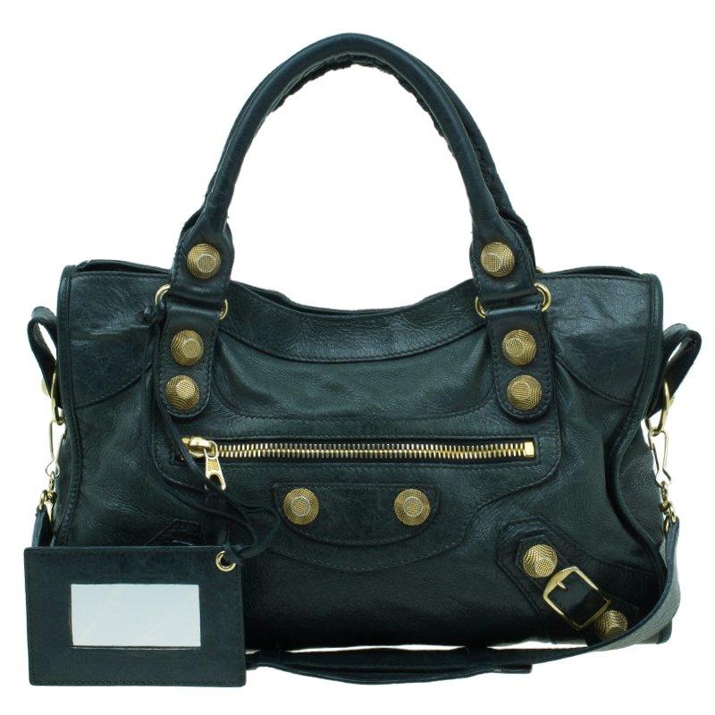 b8260309610 Buy Balenciaga Dark Green Lambskin Giant City Bag 41656 at best ...