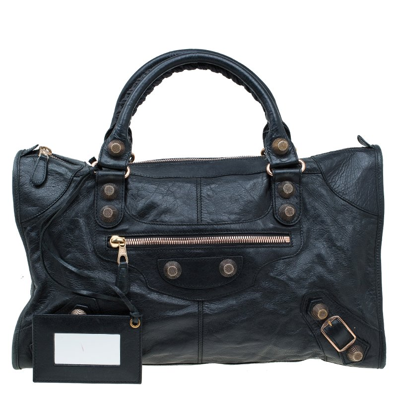 46db6afad334 ... Balenciaga Black Lambskin Leather Giant 21 Rose Gold hardware Work Bag.  nextprev. prevnext