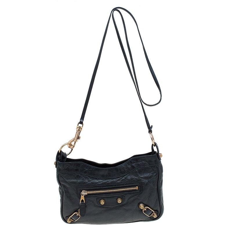 big selection of 2019 sold worldwide really comfortable Balenciaga Black Leather Gold Hardware Hip Crossbody Bag