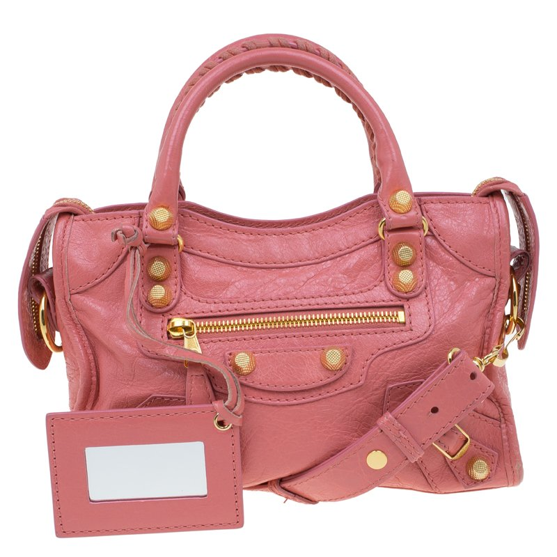 79eef82e1a Buy Balenciaga Pink Leather Mini City Gold Hardware Bag 60447 at ...