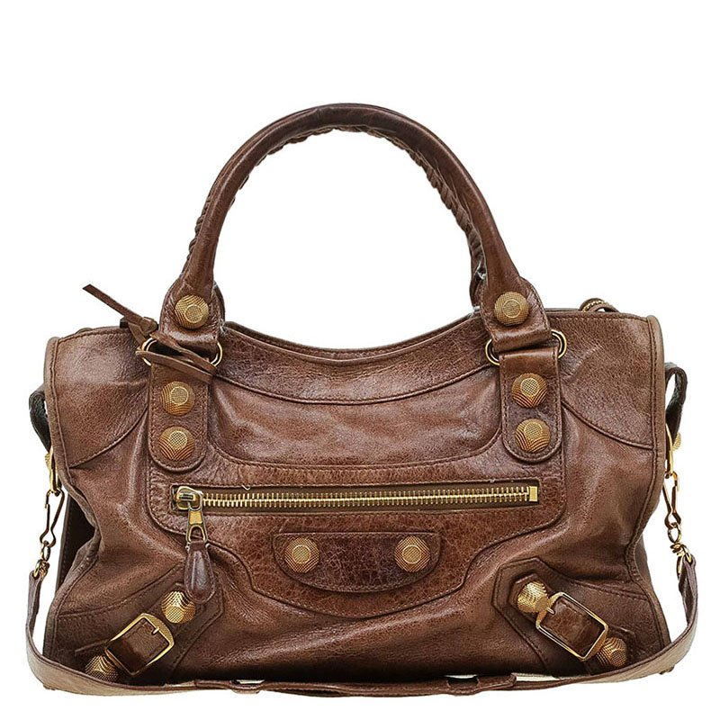 f27e5fceea70 Buy Balenciaga Brown Leather GH City Bag 66939 at best price