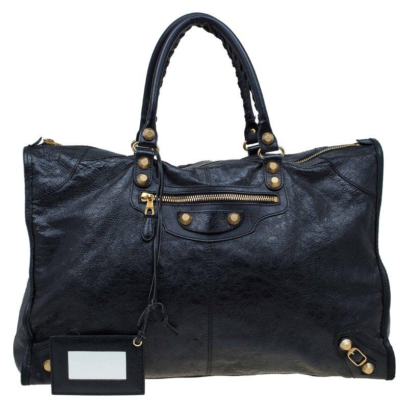 Balenciaga Black Leather Gh Voyage Weekender Bag