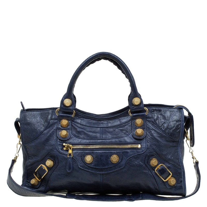 1375117d9ccd Buy Balenciaga Dark Blue Leather Giant Gold Hardware Part Time Tote ...