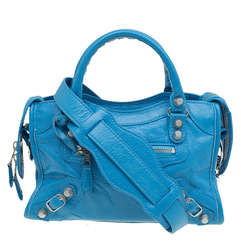 14b52de668 ... Balenciaga Sky Blue Leather Classic Silver Hardware Mini City Tote.  nextprev. prevnext