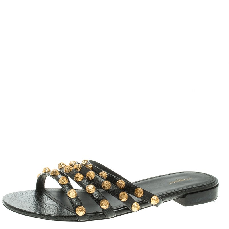 284062955e6 Balenciaga Black Studded Leather Arena Strappy Flat Slides Size 40
