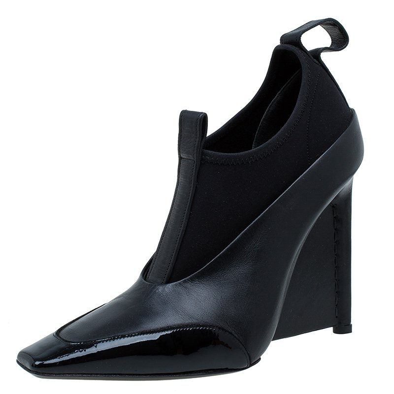 aedd9a206878 Buy Balenciaga Black Leather and Neoprene Scuba Wedge Ankle Boots ...