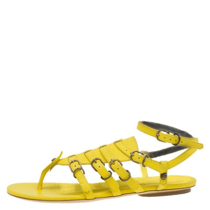 31e8930206b Buy Balenciaga Yellow Leather Gladiator Sandals Size 38 85168 at ...
