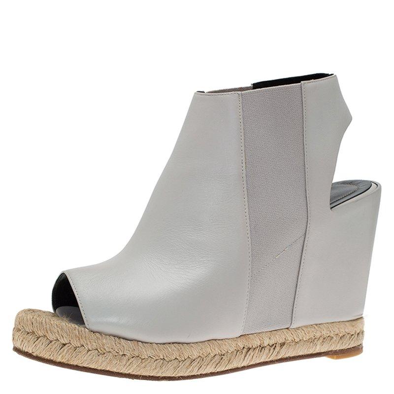 ec4e350c166 Balenciaga Grey Leather Espadrille Open Toe Slingback Wedge Sandals Size 39