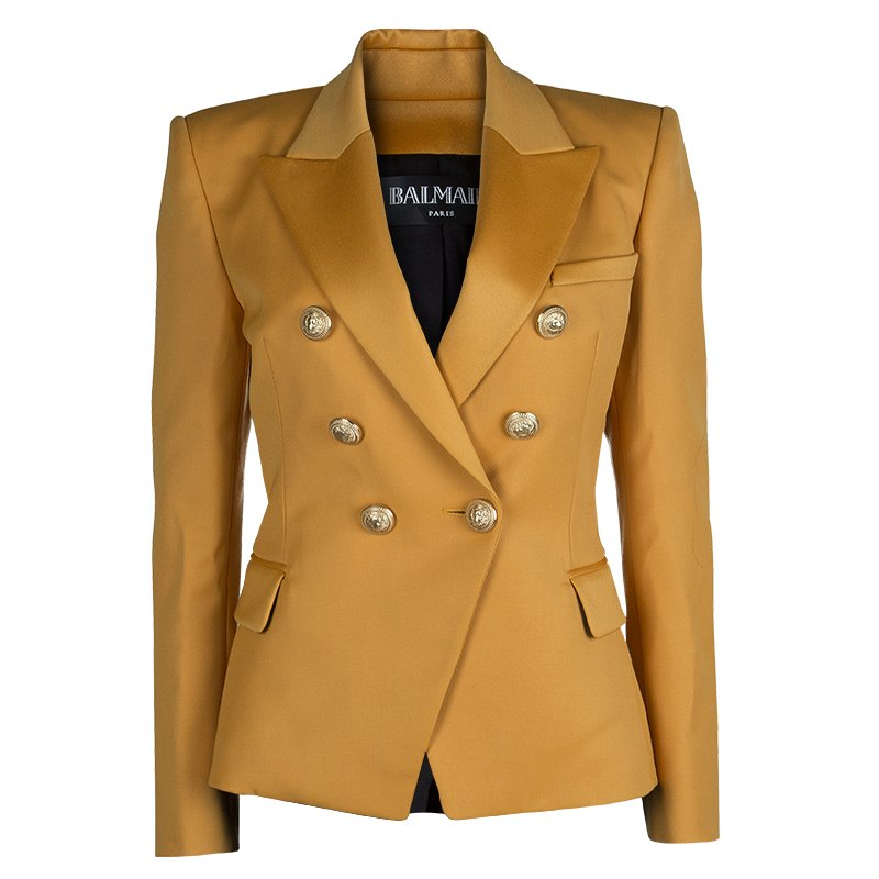 18682329 Buy Balmain Mustard Yellow Double-Breasted Wool Blazer M 64033 at ...